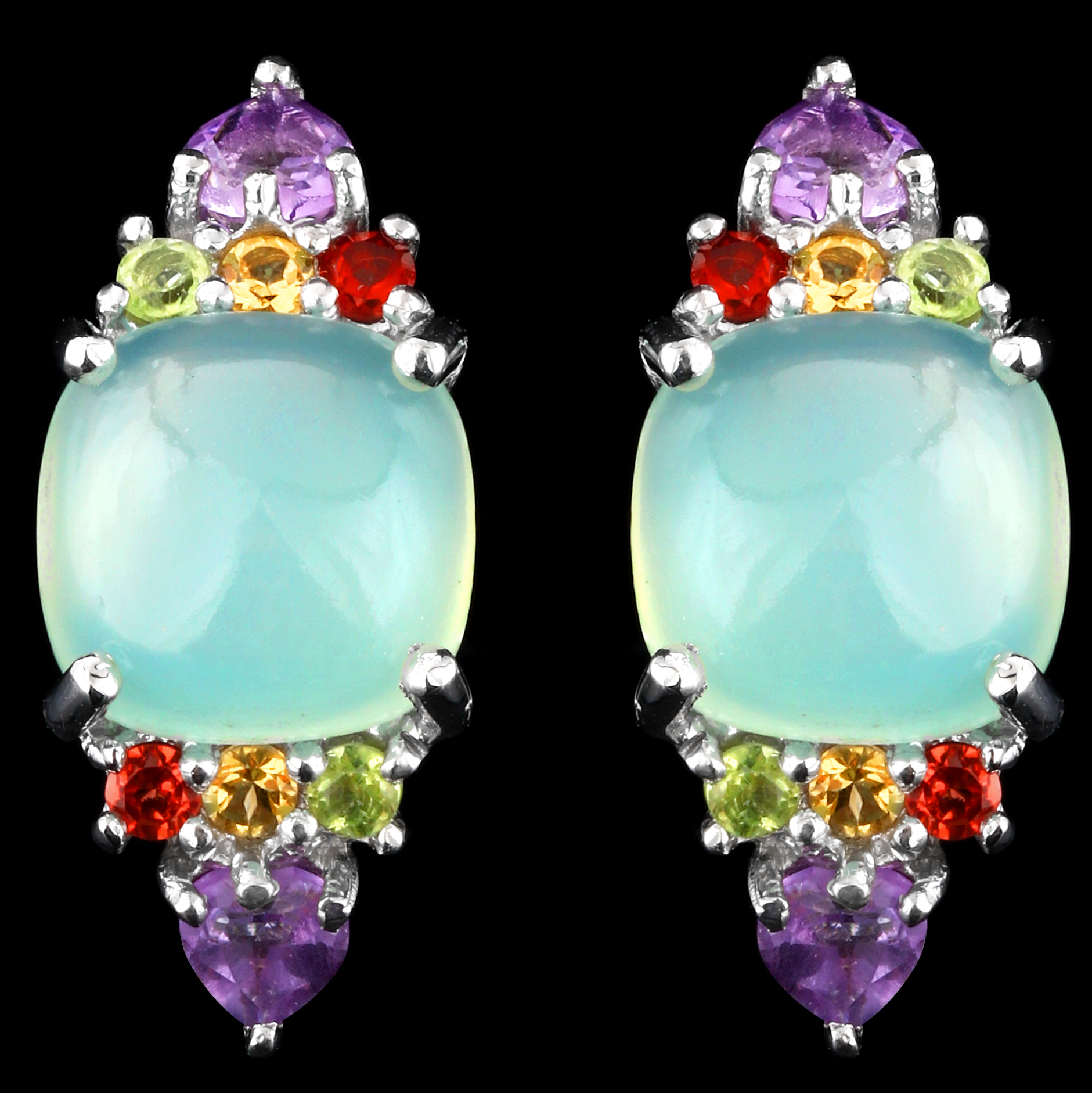 RARE STERLING SILVER 925 EARRING 100/% NATURAL 7MM AMETHYST /& APPLE PERIDOT AAA
